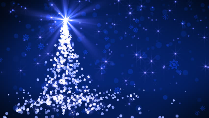 Abstract Christmas tree animation with falling snowflakes and glitters which is useful for Christmas,Holidays and New Year videos and presentation. 4K HD seamlessly loop-able background animation. - 4K stock footage clip