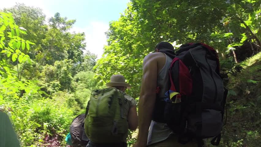 Hiking couple trekking through dense rainforest nature in Thailand. Active lifestyle.