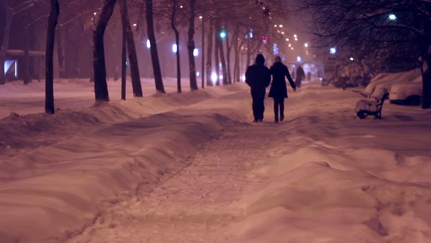 City Winter Night. People Walking On Snowy Street At Night ...