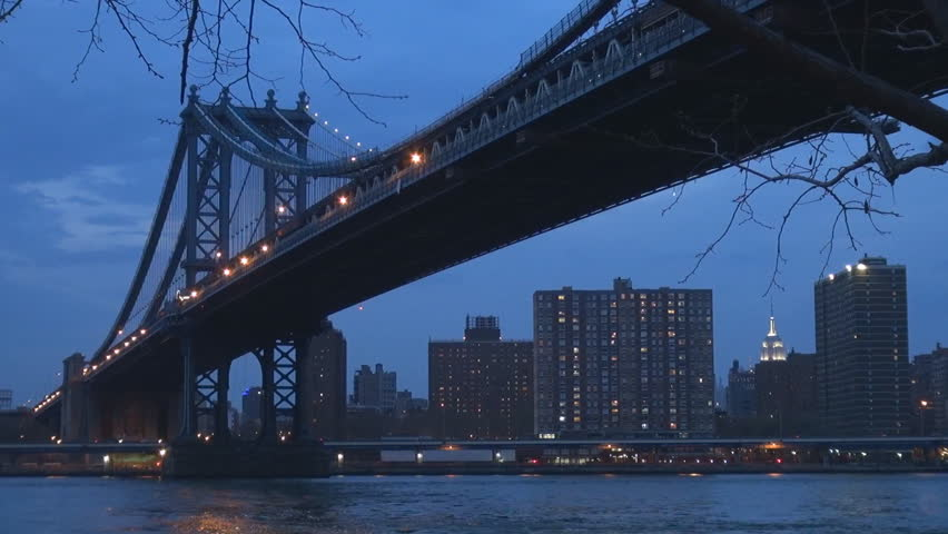 Beautiful Manhattan Bridge in twilight, cityscape of New York City and Hudson River #8183422