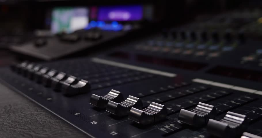music mixer desk table in recording studio highest quality closeup footage with shallow depth. Black Bedroom Furniture Sets. Home Design Ideas