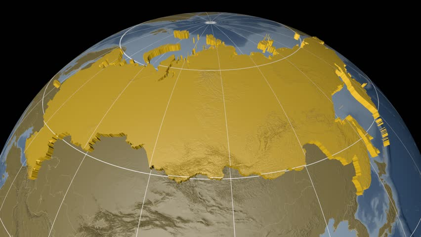 Russia extruded on the world map with administrative borders and graticule. Elevation and bathymetry data on solid colors used. Elements of this image furnished by NASA.