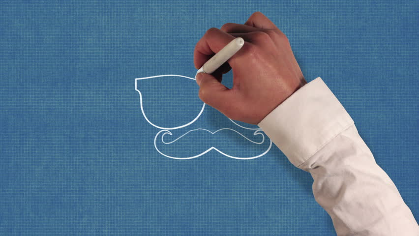 Hand drawing glasses and mustache on blueprint paper | Shutterstock HD Video #8259445
