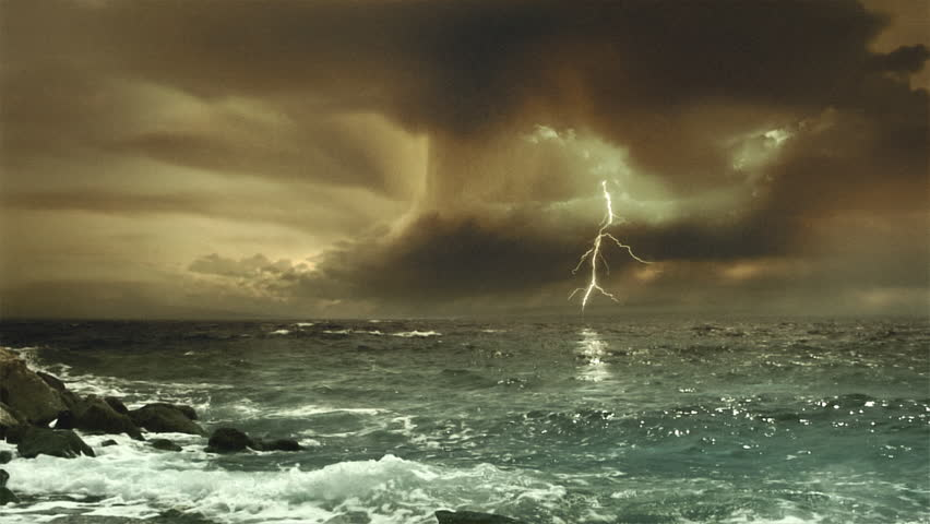 Cinematic storm clouds with lightning strikes reflecting in ocean. Sepia tint.