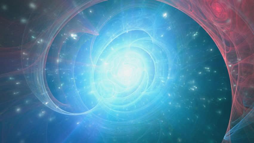 Big bang, beginnings of the universe. Fractal background. Blue and pink version.