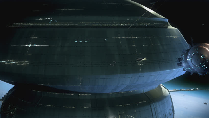 Spaceships passing by a giant space station above planet surface. Cinema quality 3D animation. Original design.