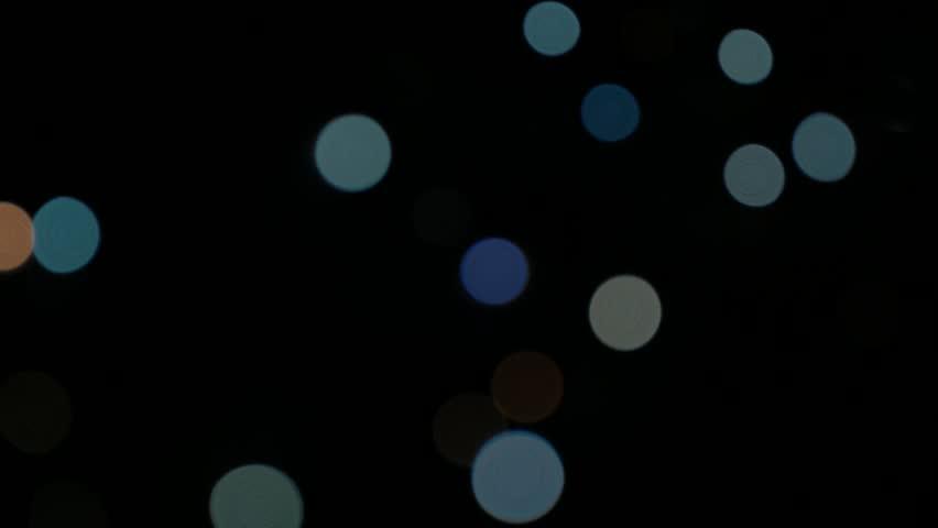 Blue flashing dot lights for Christmas decorative backgrounds 4K 2160p UHF footage - Decorative festive lights blinking in dark 4K 3840X2160 UHD video - 4K stock video clip