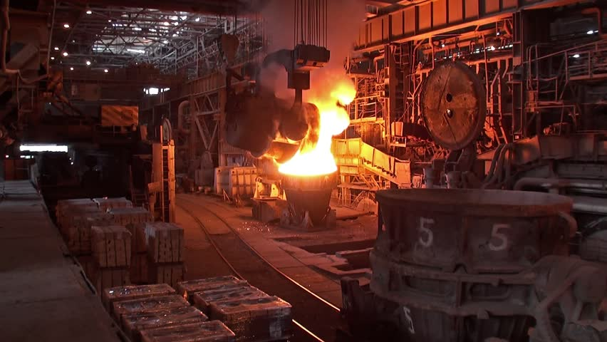 Pouring of liquid metal at the metallurgical plant - HD stock video clip