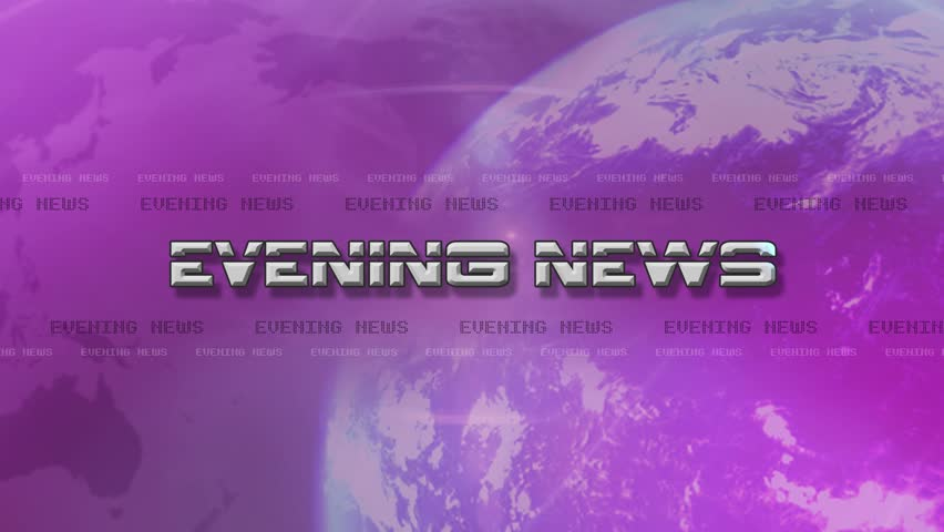 4K High Res bumper animation of Evening News. Text Flies Lens Flare.
