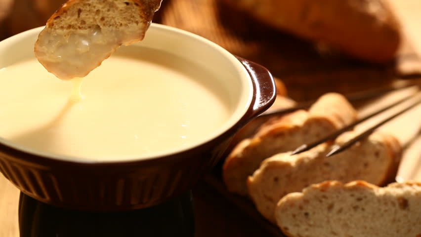 Cheese Fondue,Traditional Swiss Food For Winter Stock Footage Video ...
