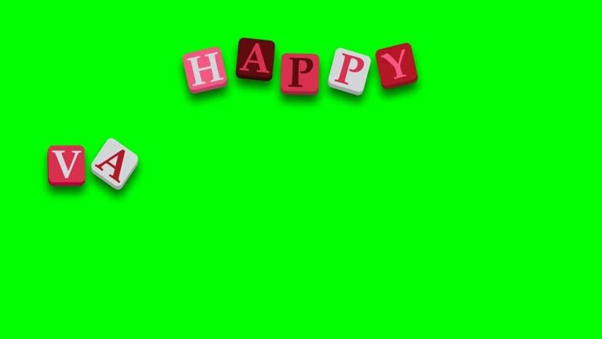 Valentine's Day greeting card phrase, saying. Happy Valentine's Day with colorful blocks on green screen - 4K stock video clip