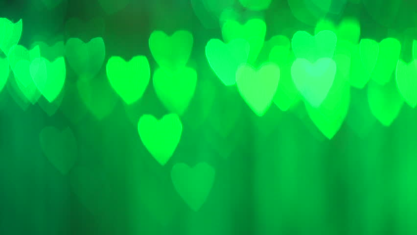 Bokeh Heart Shape Of Light Background Stock Footage Video: Blinking Hearts Of Blue And Turquoise Colors. HD Vdeo