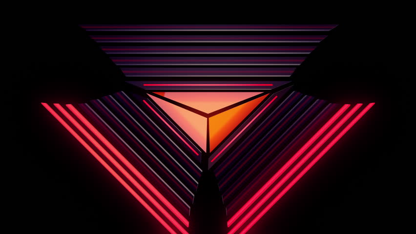Abstract audio visualizer glowing triangle meters. High definition motion background for music videos, broadcast, television, film, editing, live visuals, VJ loops, youtube shows, art installations.
