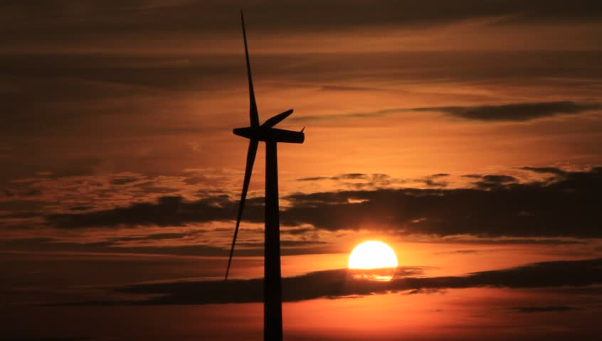 wind energy, wind turbine at sunset - HD stock footage clip