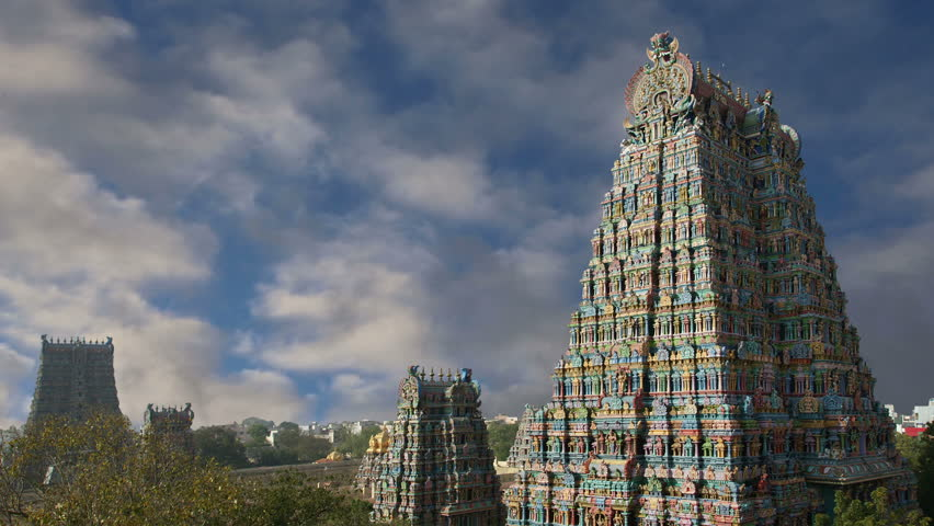 Meenakshi hindu temple in Madurai, Tamil Nadu, South India - HD stock video clip