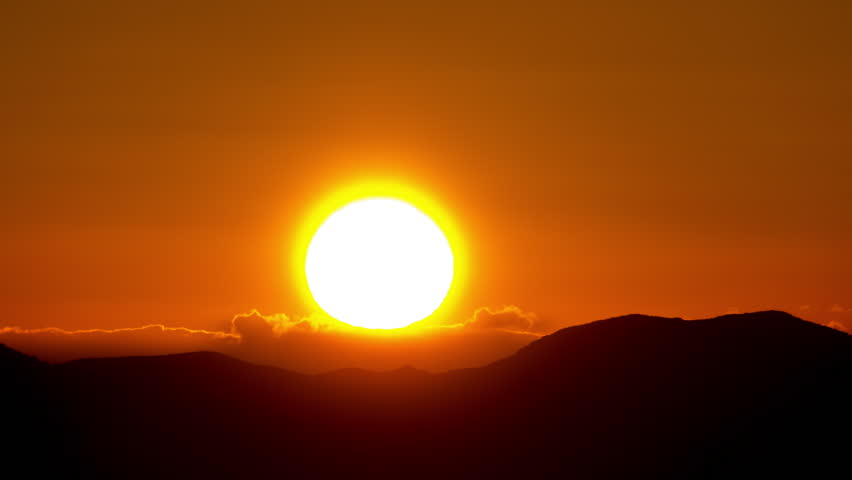 4K scenic sunrise background sun rising. Close up telephoto timelapse of sun rising behing sea and mountains in Greece. All unwanted elements been digitally removed,and sequence has been deflickered. #8398900