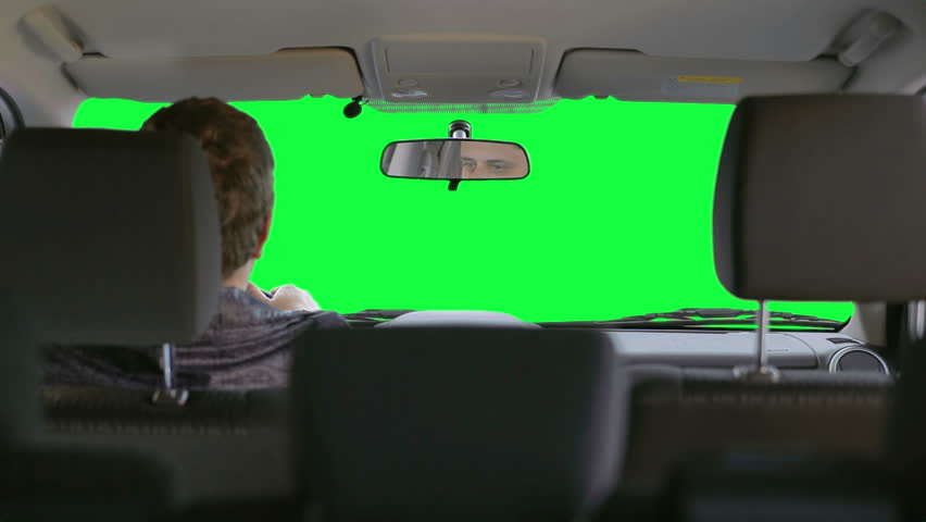 The driver makes a sharp turns. View from the the back of passenger compartment