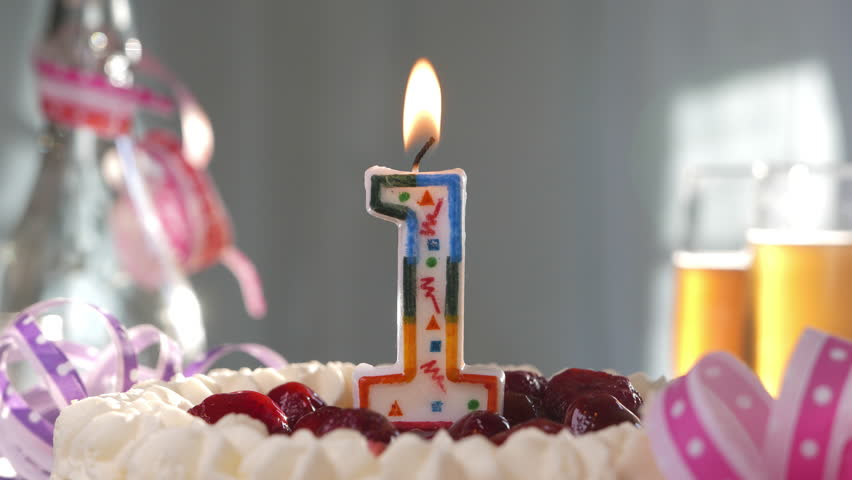 Birthday Candles 21 Burning On Top Of Cake Stock Footage