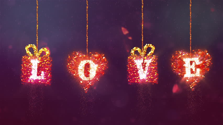 Valentine's day abstract background,flying hearts and particles.Bounce heart. - HD stock video clip