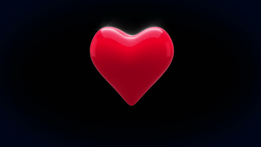 Digital Animation Of Red Heart Thumping On Black ...