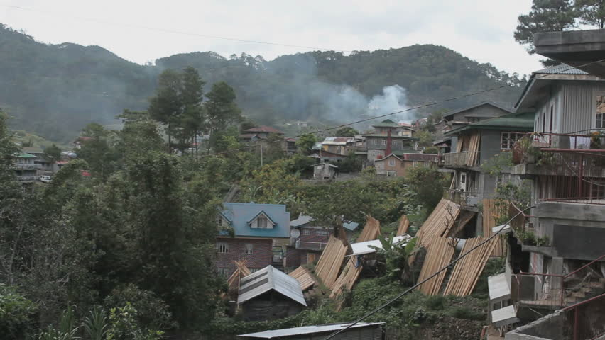 Primitive village in the mountains of the Philippines, panorama shot