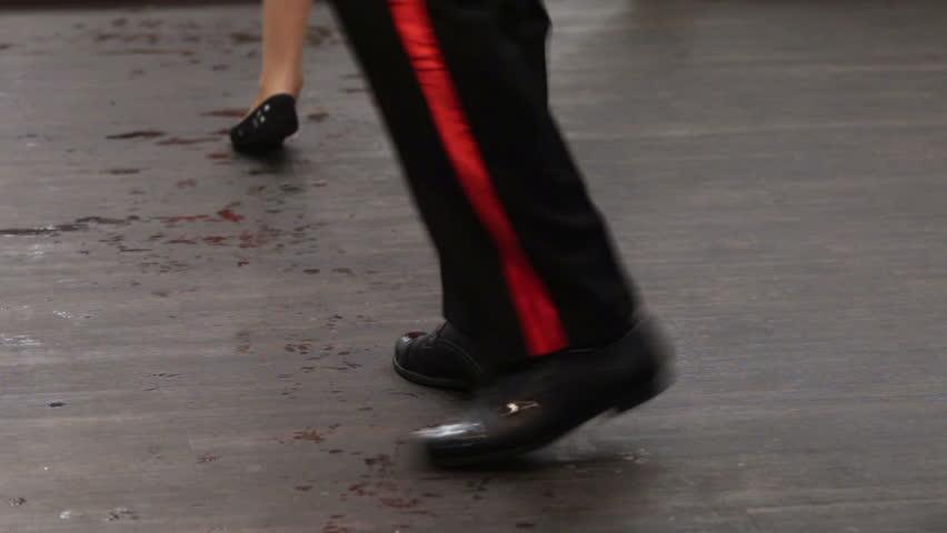 Performances of ballroom dancing on floor - HD stock video clip