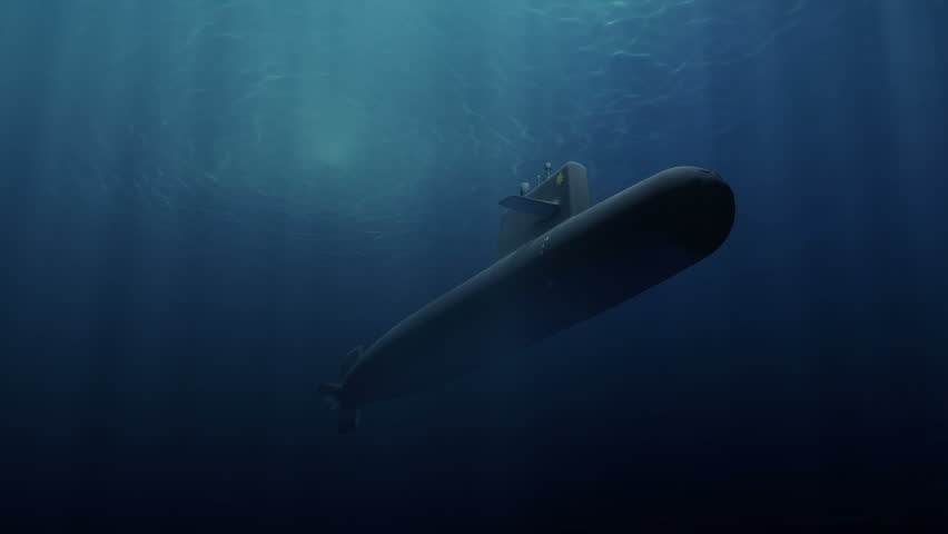 Submarine patrolling just below the water's surface - HD stock footage clip