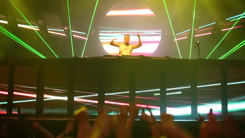 MOSCOW, RUSSIA - DEC 8, 2013: DJ Basto on Global Clubbing Mind Games in Stadium Live - HD stock video clip