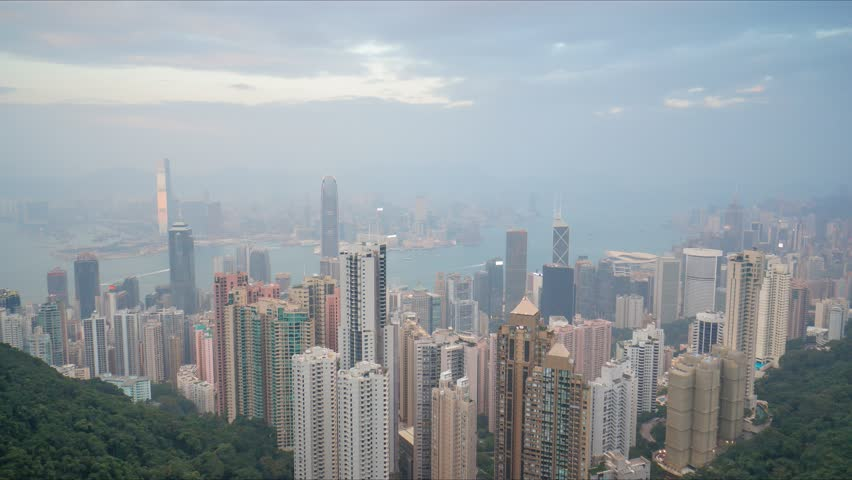 4K time lapse video of day view at Hong Kong city skyline from Peak View | Shutterstock HD Video #8478307