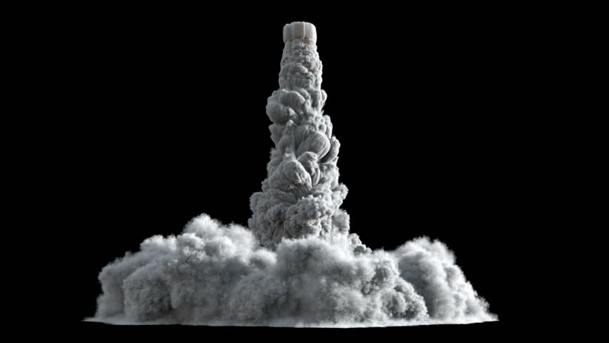 4K Rocket launch or Takeoff smoke and fire texture isolated on black background, with alpha, ready for compositing (uhd 3840x2160, ultra high definition, 1920x1080, 1080p) high detailed huge smoke