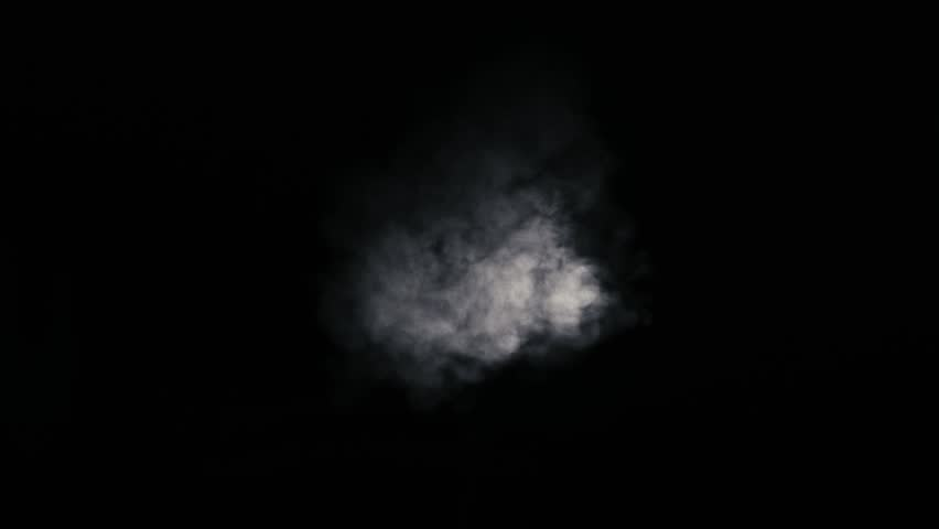 White smoke coming from center against a black background