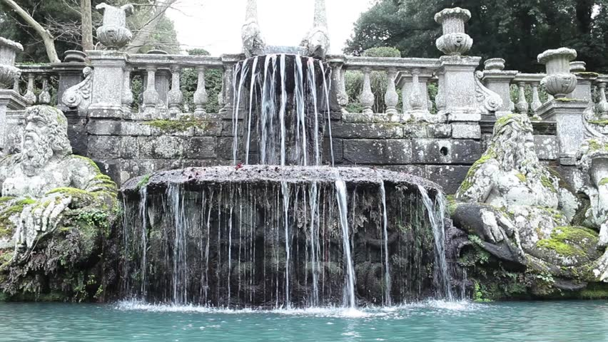 Video clip of the Giants Fountain in Villa Lante garden at Bagnaia, Viterbo province, Italy.