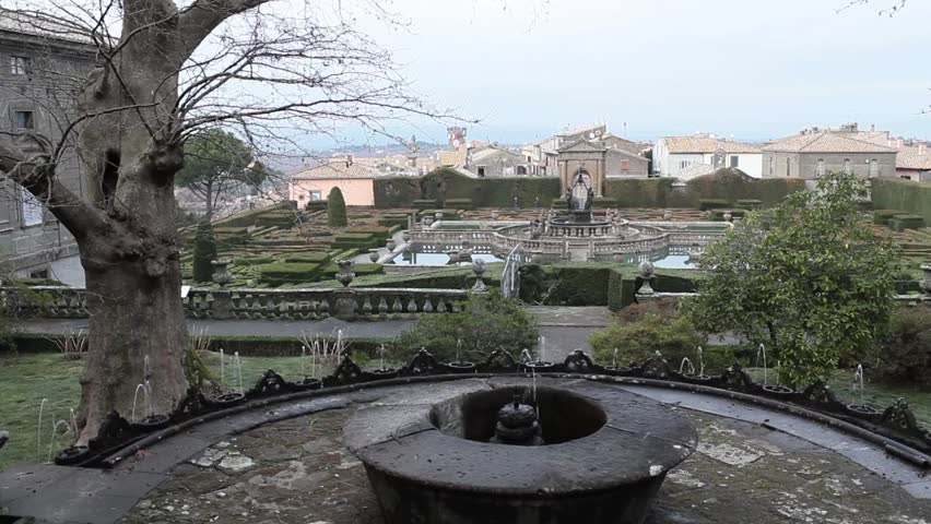 Video clip showing a view above the gardens of Villa Lante at Bagnaia, Viterbo Province, Italy. In foreground Fontana dei Lumini, in the background The Square Fountain.