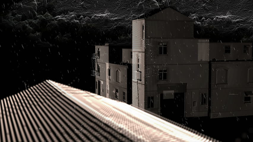 Pan over houses in rain, stylized dots - HD stock video clip