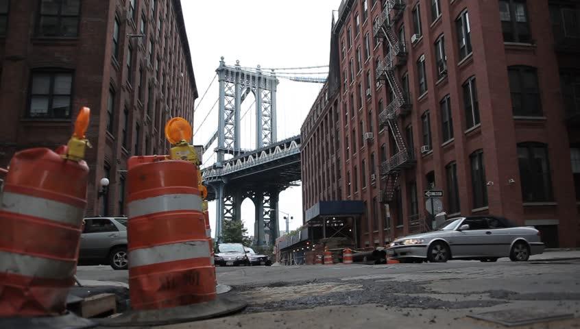 A shot of Manhattan Bridge from Brooklyn | Shutterstock HD Video #854398