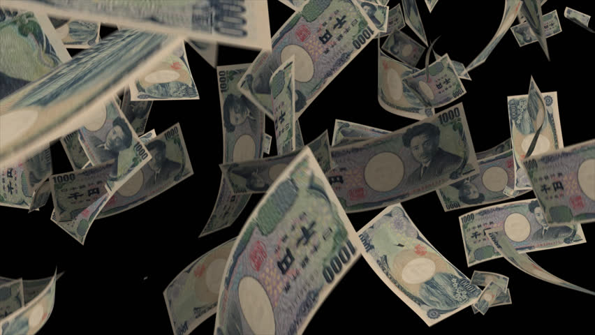 Falling Japan money banknotes