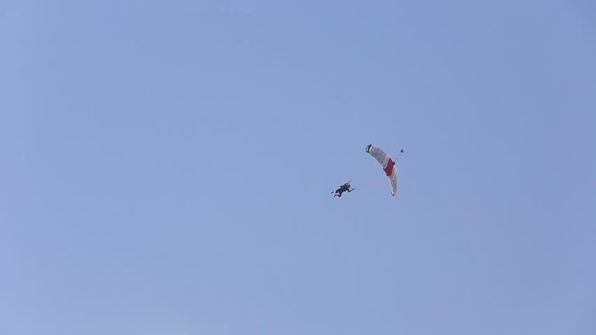DUBAI - CIRCA 2015 extreme sport parachute landing - HD stock footage clip