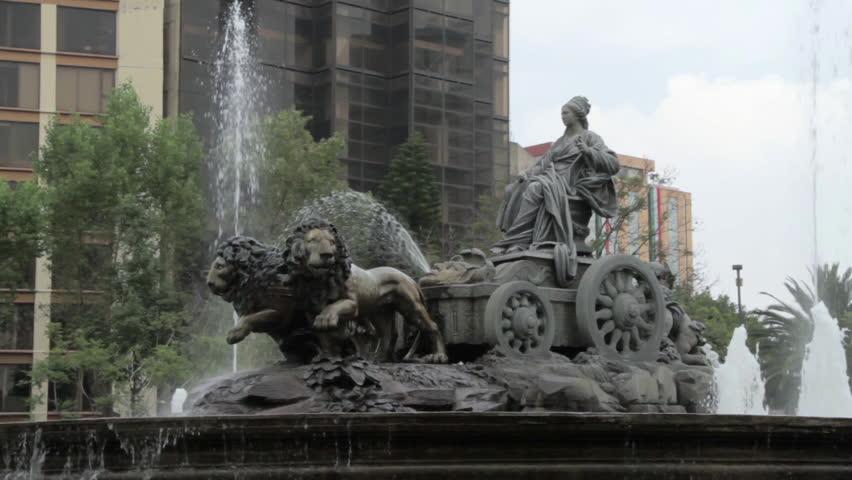 MEXICO CITY - CIRCA 2014 Big fountain called Fuente de Cibeles in a cloudy day in Mexico City