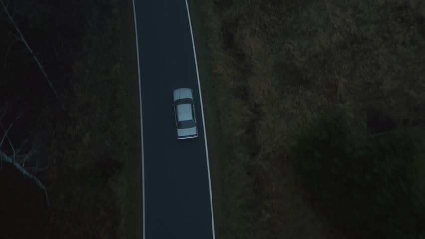 A car driving trough foggy forest - aerial view