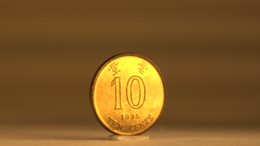 10 Cent Hongkong Coin Series/ The ten-cent coin is the lowest denomination coin of the Hongkong dollar circulation. | Shutterstock HD Video #8595316