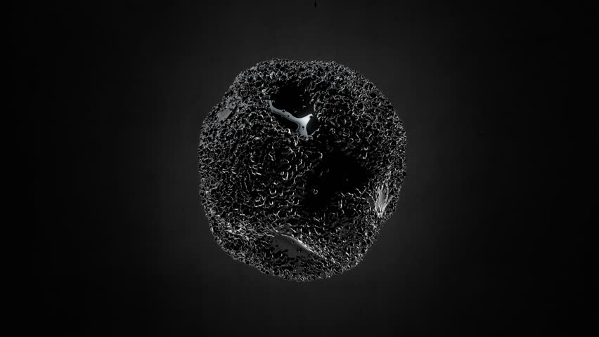 Abstract Black Sponge Sphere Object Looping with Alpha Matte 4K 4096x2304 - the 4K resolution allows you to crop in closely, when placed into HD or SD video projects, without the need for scaling | Shutterstock HD Video #8595865