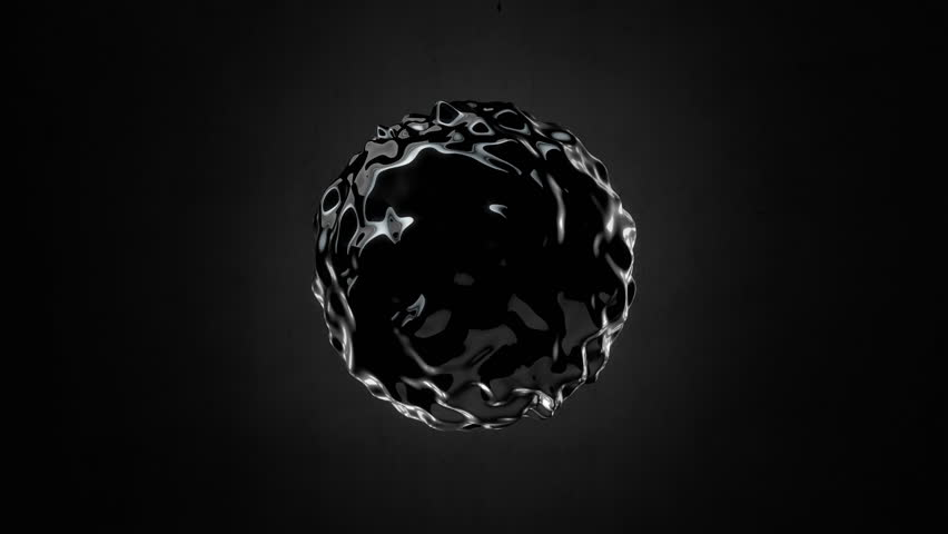 Abstract Black Oil Sphere Object Looping with Alpha Matte 4K 4096x2304 - the 4K resolution allows you to crop in closely, when placed into HD or SD video projects, without the need for scaling
