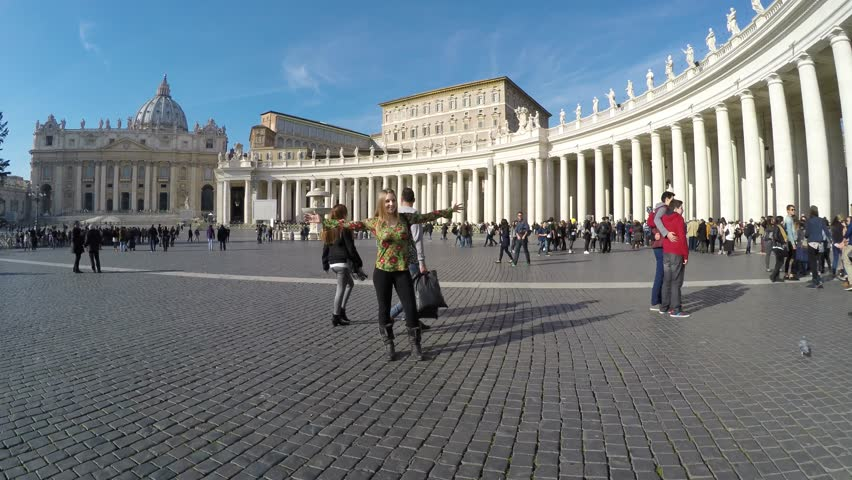 VATICAN, ITALY - CIRCA JAN 2015: Tourists on the Vatican City, Italy - 4K stock footage clip