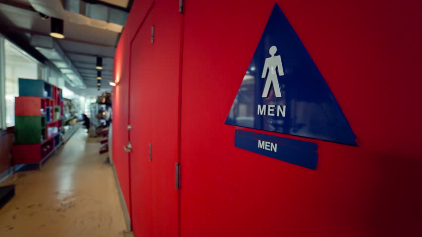 Men 39 S Room At Carwash Restroom Triangle Sign Bathroom At Car Wash With Rollers And Conveyor