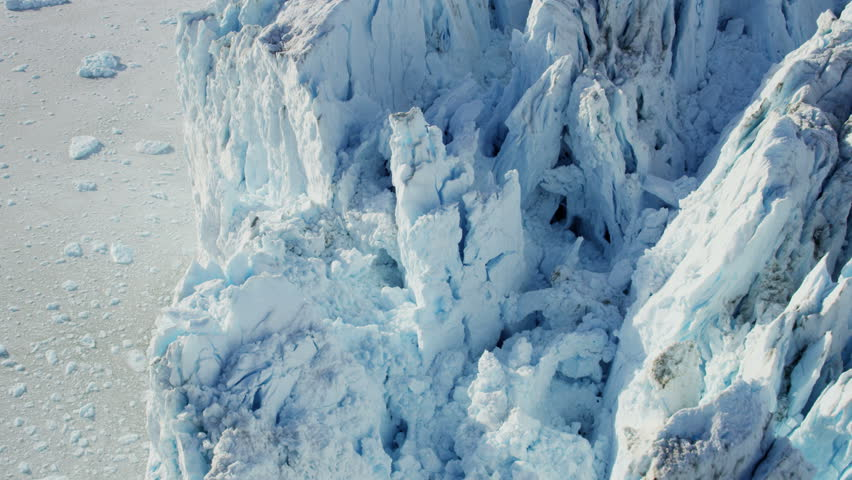 Aerial Eqi Glacier Greenland Global warming Arctic frozen ice meltwater Icefjord ocean environment travel floe RED EPIC