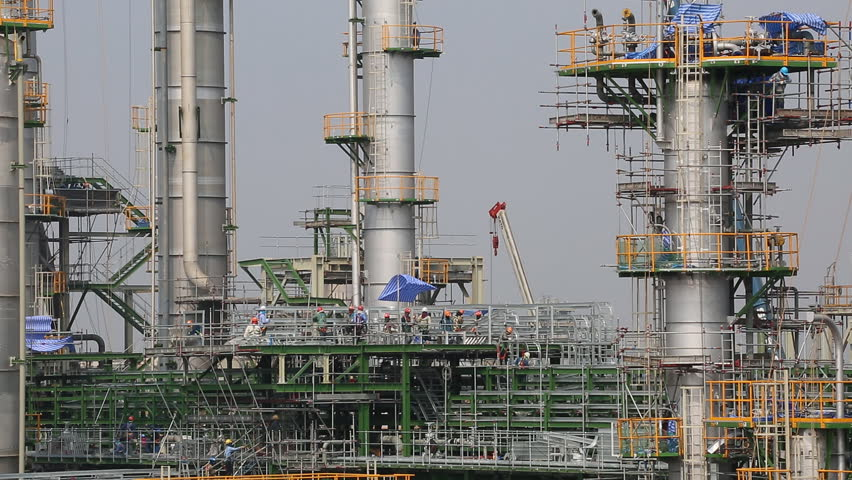 Industrial petroleum factory in construction phase   Shutterstock HD Video #8684461