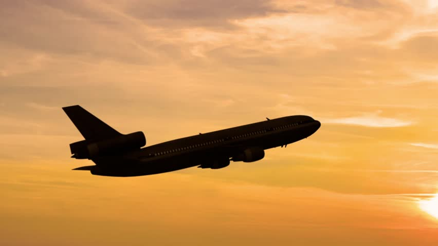 Plane takes off at sunrise background | Shutterstock HD Video #8689780