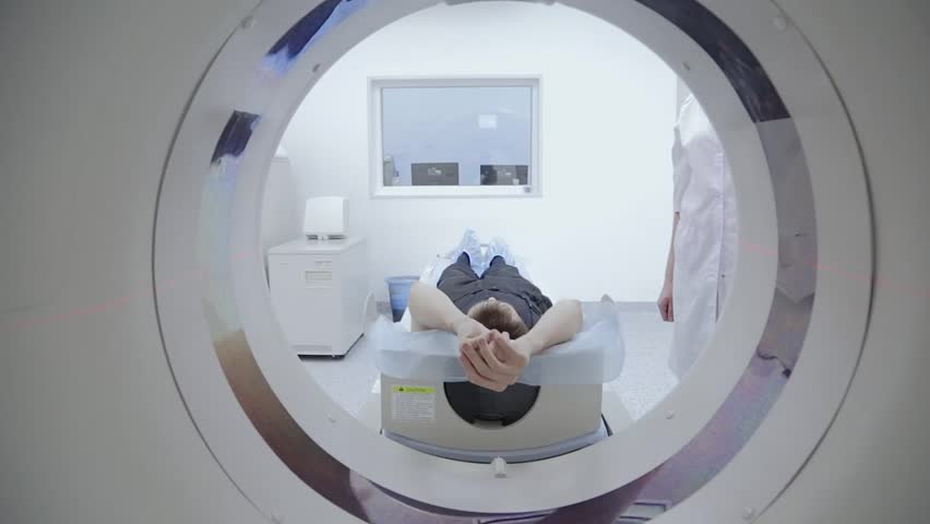 Tomograph, Patient on magnetic resonance imaging, medical examination - HD stock footage clip