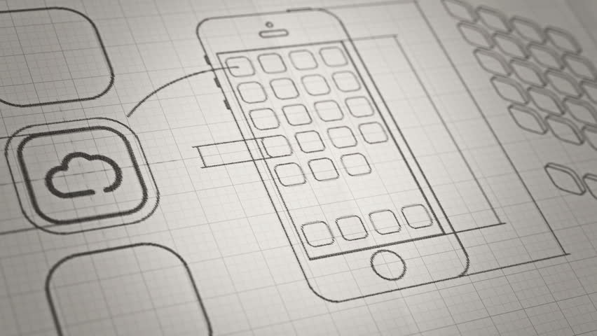 Mobile App development sketch concept. Technology drawing animation. Different colors in my profile.
