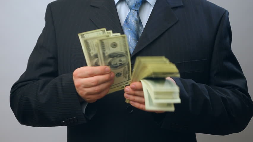 Happy joy caucasian businessman with lots of one hundred US dollars banknotes. Cash, money, ready money, Finance & Business. Financial income, wages. | Shutterstock HD Video #8745967